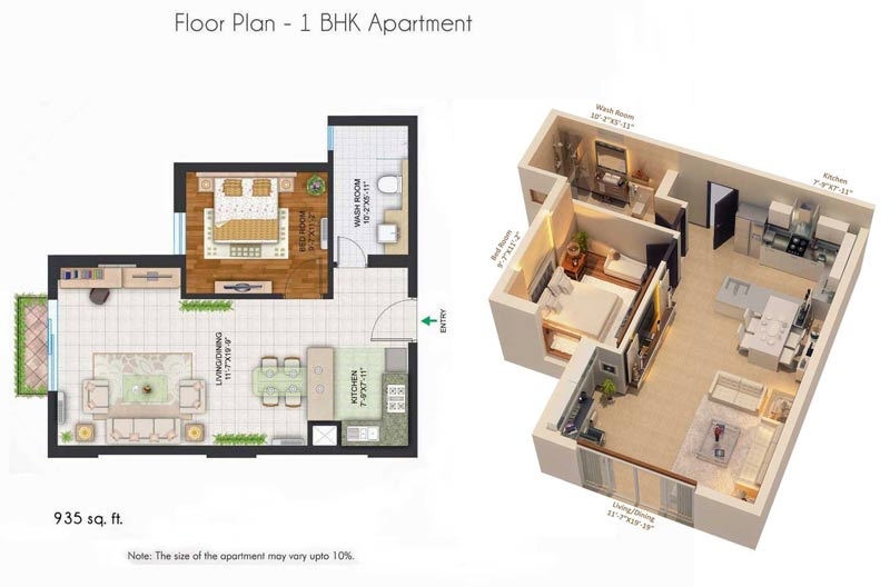 Central park 2 the room studio apartments sohna road gurgaon for 1 bhk interior design cost